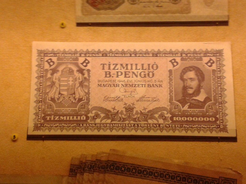 A ten quintillion Hungarian Pengo note circa 1946.  Guys, the U.S. economy and debt bubble is far, far worse than anything that was going on in Hungary.  The only difference is the fact that the reality of the Hungarian situation was acknowledged by the market.