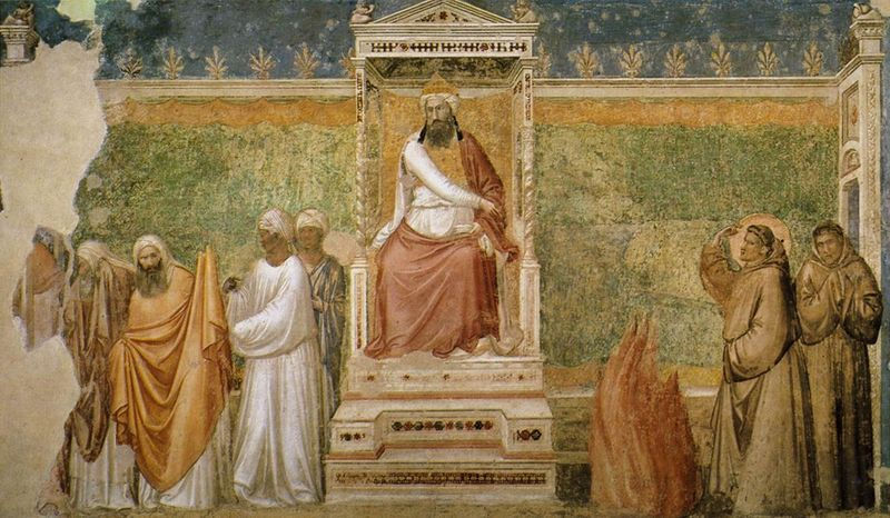 "Giotto's fresco depicting St. Francis' Trial by Fire.  The musloids are on the left, slinking away.  Apparently this was all a terrible mistake on St. Francis' part.  He should have merely ""encountered"" the musloids in a spirit of ""dialogue"" and listened to their lies and then declared that they should all engage in good works and ""meet each other there"".  Because, you know, there isn't a ""Catholic God"", and the god the musloids believe in is the same as the Triune Godhead, or something.  And God being Good, and good and evil being whatever the individual conceives them as being, ""God"" is whoever or whatever the individual says He, She or It is.  Thank ""god"" we have Smart Francis today to correct all of the errors of Stupid Francis of Assisi."