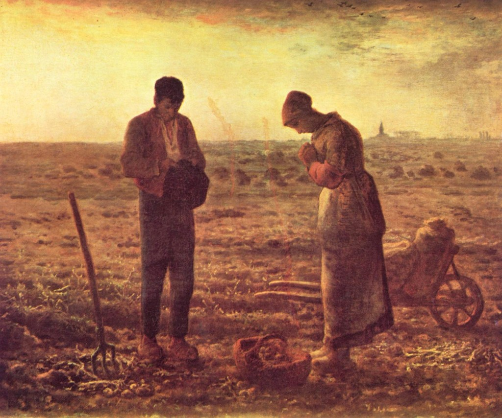 """The Angelus"" by Jean-Francois Millet.  You can see the church with the bell tower on the horizon.  This is how live really used to be.  Maybe someday it will be like this again.  After the counterrevolution...."