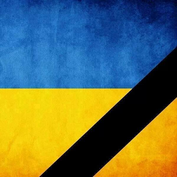 The flag of the Ukrainian Counter-revolution: the Ukrainian flag with a black bar.