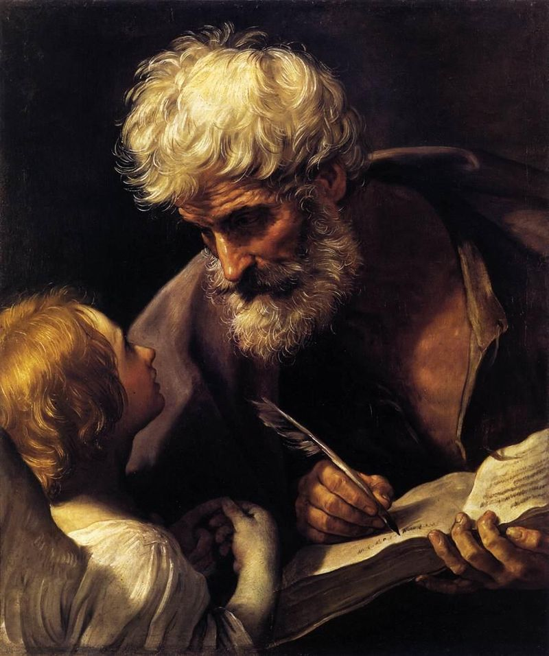 """Okay.  Write this down:  Abraham begot Isaac. And Isaac begot Jacob. And Jacob begot Judas and his brethren…."" St. Matthew and the Angel, Guido Reni, ARSH 1640, Vatican Museums"