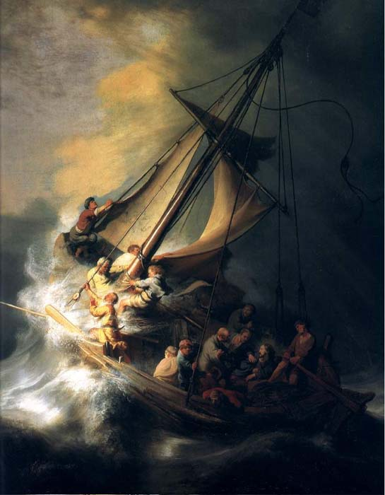 Master, doth it not concern Thee that we perish?  Mark 4: 38.    Rembrandt, Christ in the Storm on the Lake of Galilee. ARSH 1633. Oil on canvas. Isabella Stewart Gardner Museum, Boston