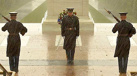 The ceremonials at the Tomb of the Unknowns during Hurricane Sandy.