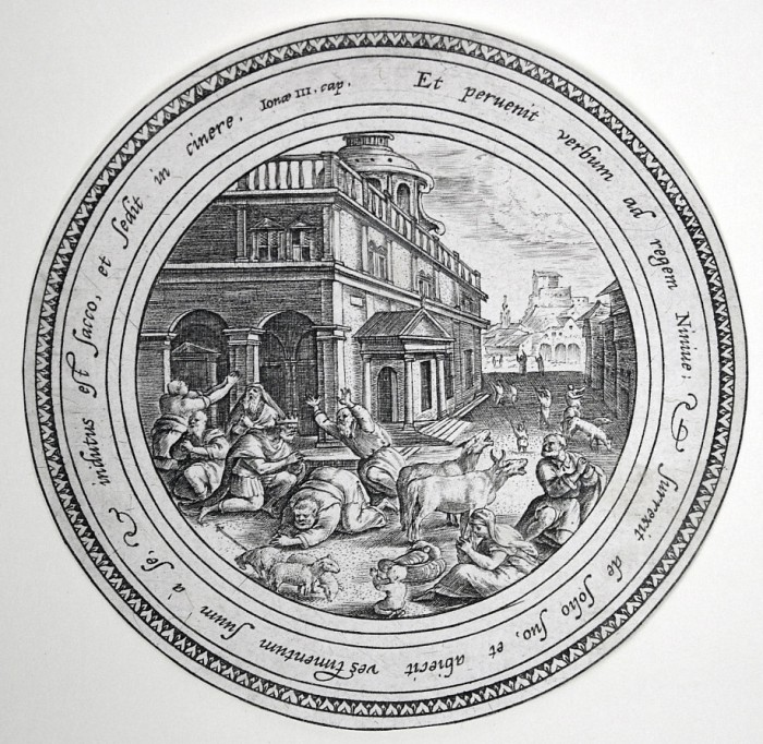 """The King and People of Nineveh Repenting"", Crispin de Passe, engraver, from the Story of Jonah (The King and People of Nineveh Repenting), c. 1586, after the drawing by Maarten de Vos"