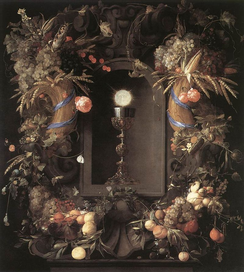 """Eucharist in Fruit Wreath"" by Jan Davidsz. de Heem (ARSH 1606–1683/1684)"