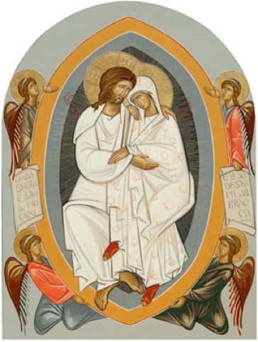 """""""Therefore the Virgin is immortal to this day, seeing that He who had dwelt in her transported her to the regions of her assumption."""" (Timothy of Jerusalem, Homily on Simeon and Anna; 400 AD)."""