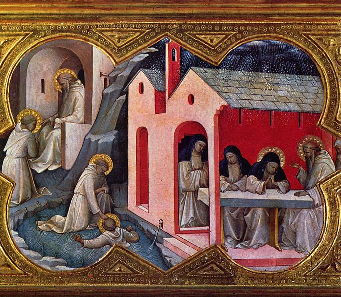 Lorenzo Monaco (c. 1370-1423), Coronation of the Virgin, predella: Saint Benedict & Saint Scholastica and Maurus Saving Placid