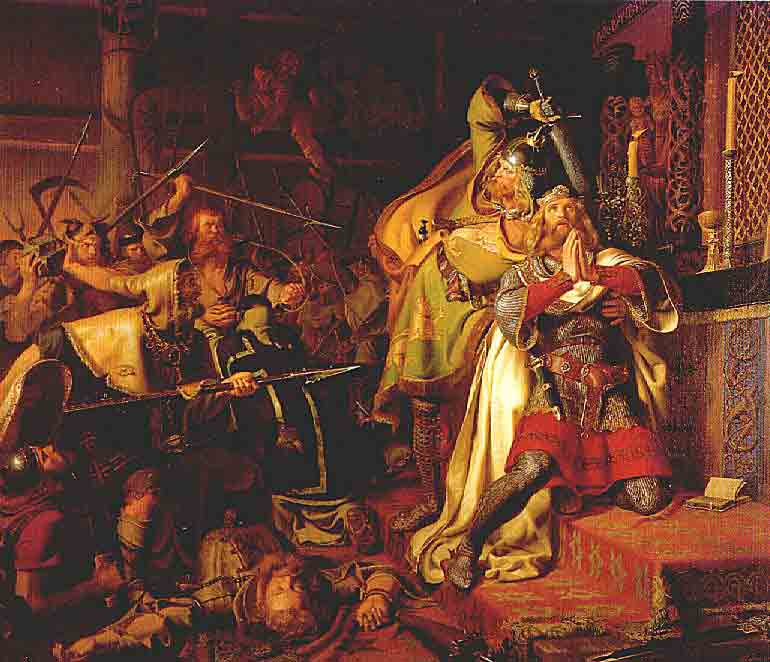 The death of Canute IV of Denmark in the Church of Saint Albanus (1086) ,Christian Albrecht von Benzon