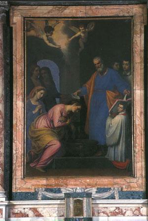 St. Peter baptizing Saint Prisca at Rome, Domenico Cresti (Il Passignano), Church of St. Prisca