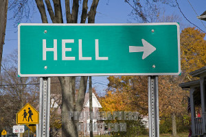 Gregory, Michigan - A road sign points towards the small town of Hell, Michigan.