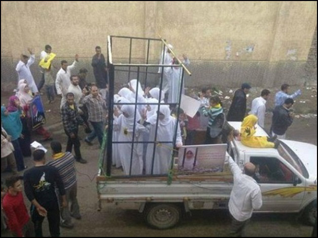 Half of the 19 Yazidi Girls being taken to be burned alive.