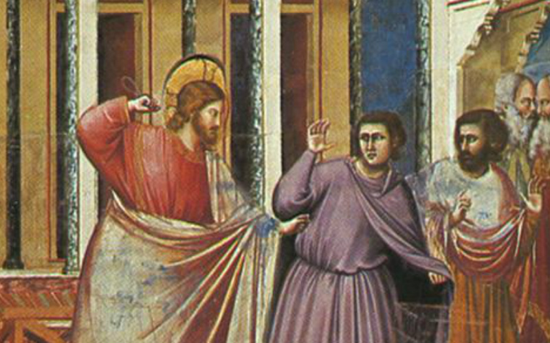 Expulsion of the Money-changers from the Temple, Giotto, ARSH 1306, Scrovegni Chapel, Padua