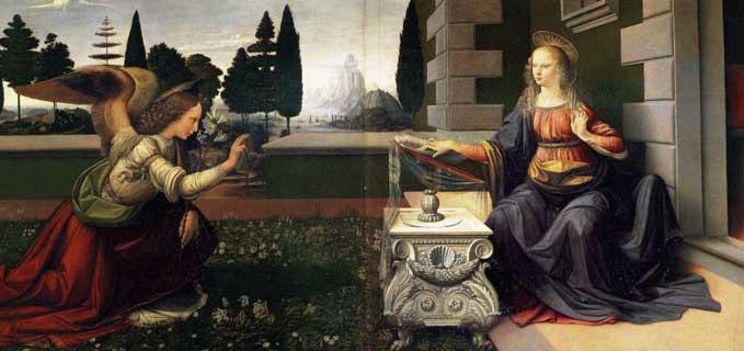The Annunciation, Leonardo da Vinci and Andrea del Verrocchio, ARSH 1472-1475, Uffizi Gallery, Florence