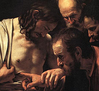 Incredulity of St. Thomas, detail. ARSH 1602. Caravaggio