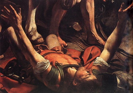 The Conversion of St. Paul on the Road to Damascus, detail. Caravaggio, ARSH 1601, Church of Santa Maria del Popolo, Rome.